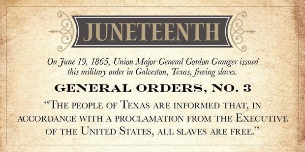 General Gordon Granger's Order No. 3 Freeing Slaves