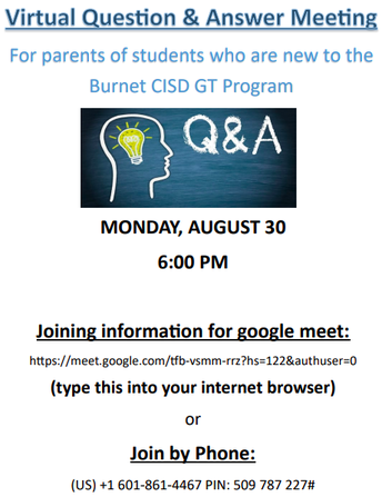 New to BCISD GT Q & A