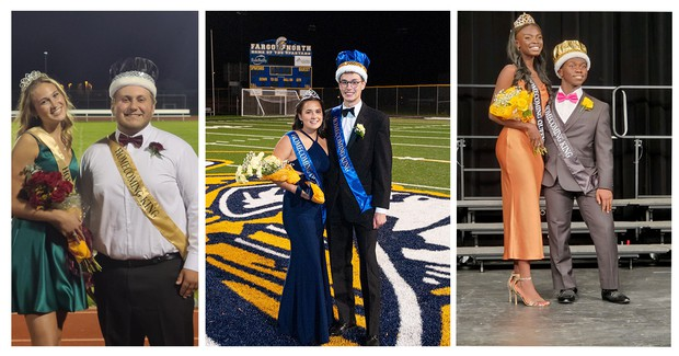 three photos of couples in King and Queen crowns