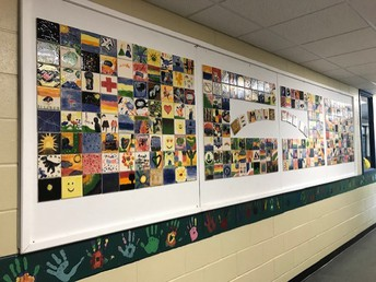 Our beautiful new tile art installation in the hallway!