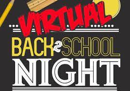 Wednesday,  September 1 Virtual Back to School Night