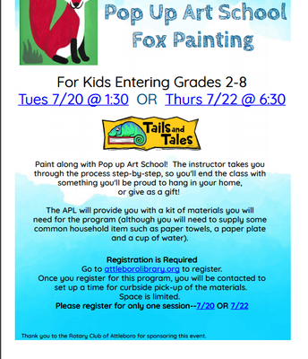 Pop Up Art School Fox Painting