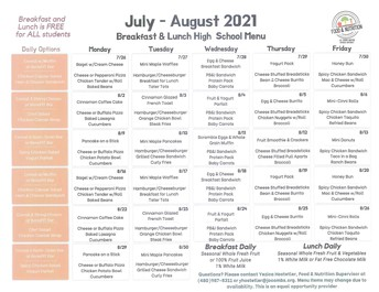 JULY/AUGUST BREAKFAST AND LUNCH MENU