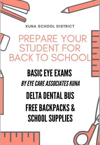 Free supplies, eye exams, dental sealants for Kuna kids Aug. 10-12