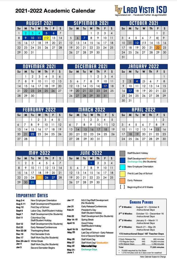 Click to download and print Academic Calendar for 2021-2022