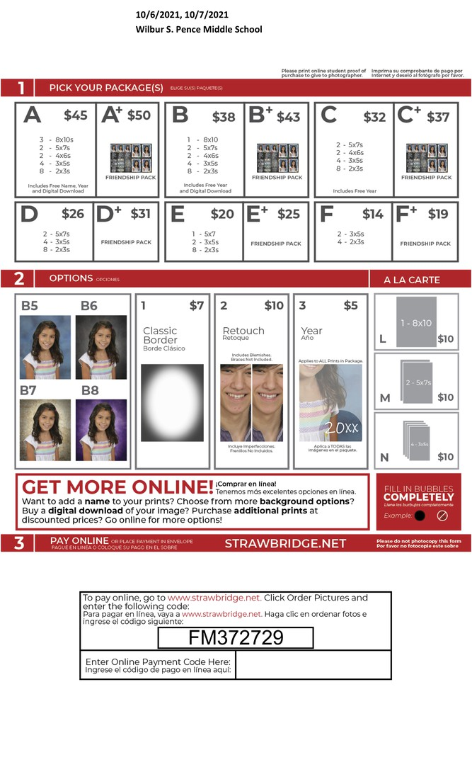 Fall Picture Ordering & Pricing Information