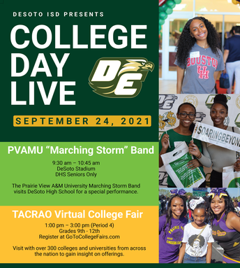 College Day Live: PVAMU Marching Storm and TACRAO Virtual College Fair - September 24
