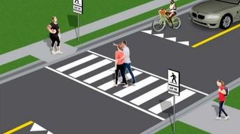 Crosswalk- Reminder (East side of school)