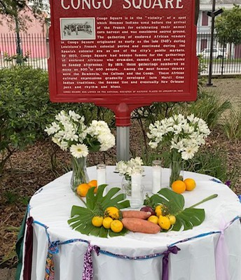 Congo Square with ancestors' fruits of labor table