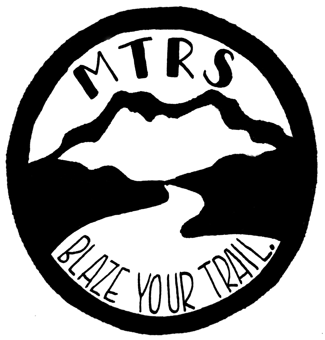 blaze your trail at mtrs logo, black and white circle with image of mountains and river