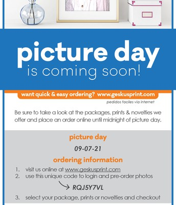 WES Picture Day for Grades 2-5, September 7th