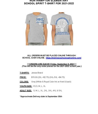 Student Shirt Order Information