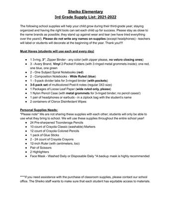 Grade 3 - Supply List