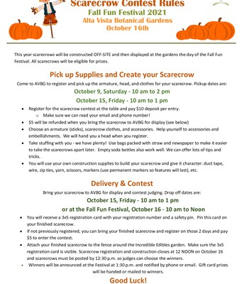Fall Festival 2021 - Scarecrow Contest Rules