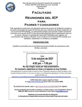 Reuniones de IEP facilitadas para padres y cuidadores