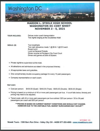 ATTENTION FRESHMAN - Washington D.C. Trip Information