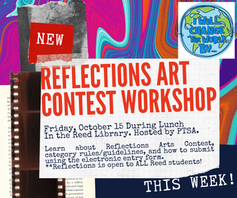 FRIDAY: **LIVE** Reflections Art Contest Workshop for Students During Lunch (Oct 15)