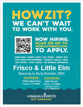 Hawaiian Bros - Little Elm/Frisco Now Hiring