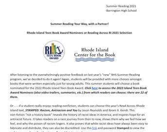 BHS Summer Reading Program