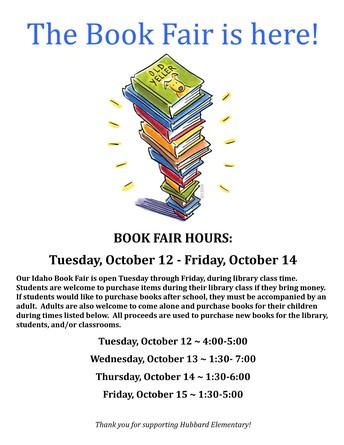 Hubbard Book Fair Coming Soon!