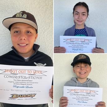 5th Grade Shout Out Award Winners