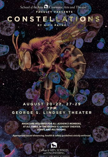 """UNA's Cinematic Arts & Theatre, School of the Arts, and College of Arts, Sciences & Engineering present """"Constellations"""" by Nick Payne"""