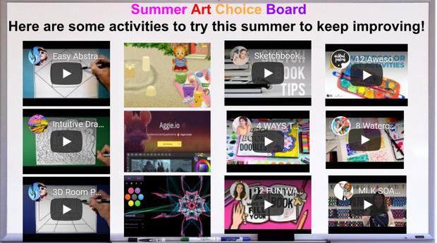 Summer Art Choice Board