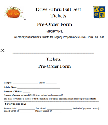 Pre-Order Form for Tickets and Food
