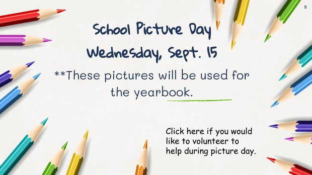 School picture day is SEptember 15