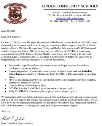 LCS COVID-19 Restrictions Lifted