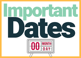 Important Dates for the New School Year