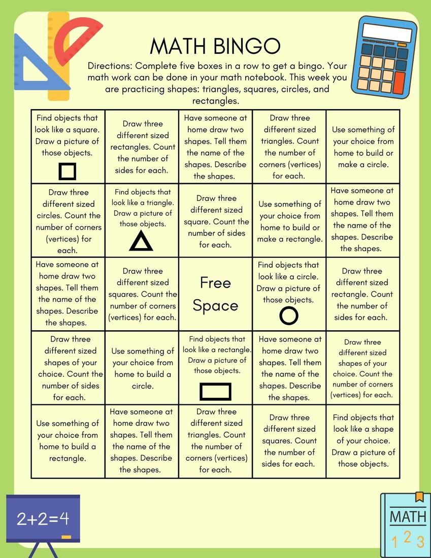 Math Bingo Board