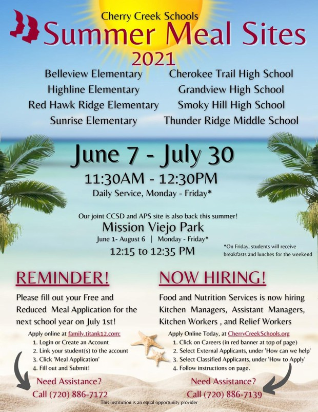 Summer Meal Sites for CCSD