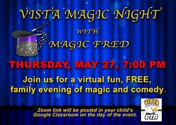 PTA Virtual Magic Show - Thursday, May 27
