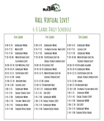 6-8 Live Schedule