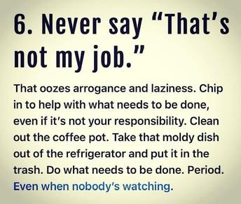 THAT'S NOT MY JOB....