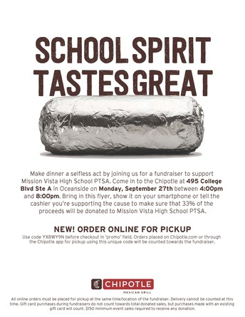 Fundraiser @ Chipotle, Sept. 27th