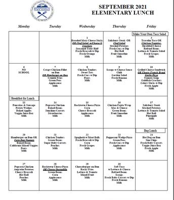 EES Lunch Menu-September