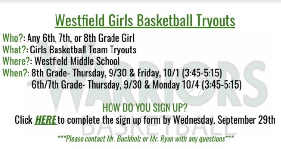 Westfield Girls Basketball Tryouts 2021