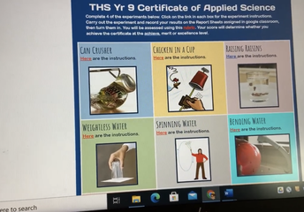 ONLINE LEARNING - SCIENCE AT HOME