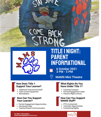 Parent's Title 1 Night Informational Meeting
