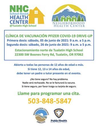 26 de junio:  Clínica de segunda dosis de la vacunación Pfizer