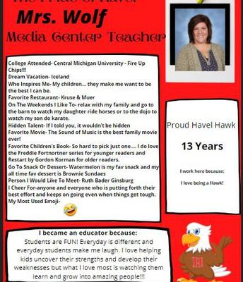 Mrs. Wolf- Media Center Teacher