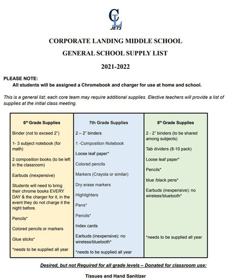 school supply list can also be found on our website