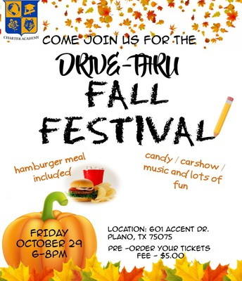 Drive Thru Fall Festival Friday, October 29, 2021 from 6-8pm