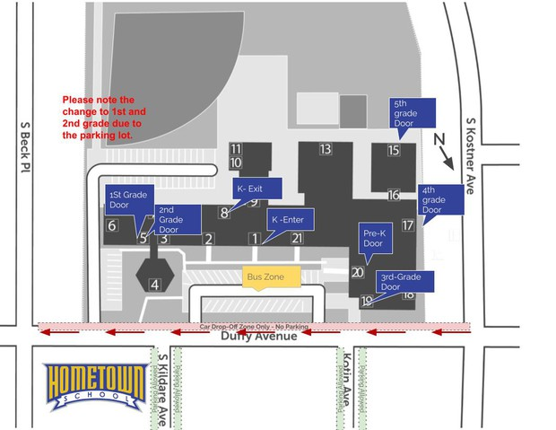 Map of the school with entrance locations