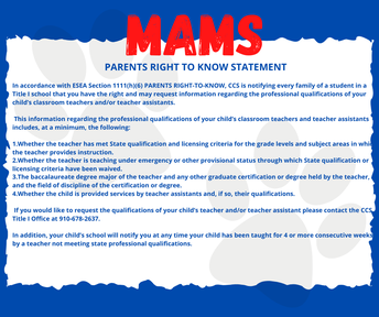 Parent's Right to know - English