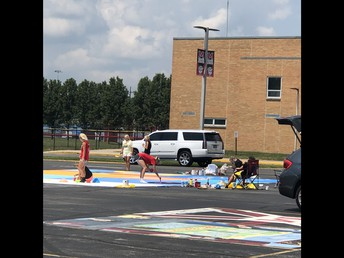 Seniors Decorating Parking Spots