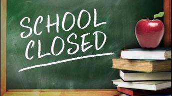 September 3 -7 School Closed