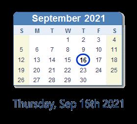Thursday, September 16, 2021